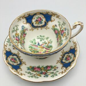 Vintage Foley English Bone China Blue Broadway Tea Cup And Saucer