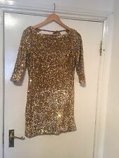 LADIES RARE GOLD SEQUENCED OPENED BACK PARTY DRESS SIZE 8