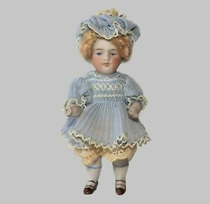 """ANTIQUE ALL BISQUE Blonde Hair String Jointed VINTAGE GERMANY 5"""" MIGNONETTE DOLL"""