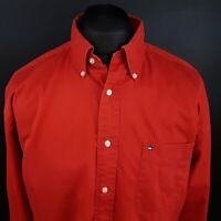 Tommy Hilfiger Mens Vintage THICK SHIRT LARGE Long Sleeve Red Classic Fit