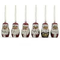 Set of 6 Santa Wooden Christmas Ornaments 1.5 Inches