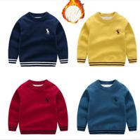 Baby Kinder Mädchen Jungen Langarm Strick Pullover Dicke Herbst Winter Pullover