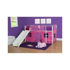 Loft Bed For Kids With Slide Princess Girl Curtain Canopy Tent Metal Twin Frame