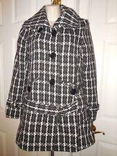Women's Pea Coat Double-Breasted Rampage Black White Geometric Medium M Winter