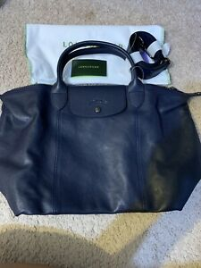 NEW Long Champ Navy Blu Le Pliage Cuir Leather Crossbody Purse Large $595