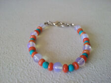 """HANDMADE SILVER PLATED RED CORAL AND OPALITE BRACELET 6 3/4"""""""