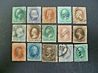 USA 1870-1882 Lot of 15 Large Banknotes Used - See Description & Images