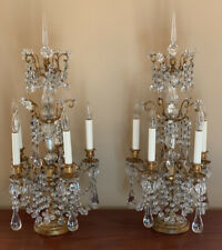 Antique Exquisite Pair French Crystal Candelabra Lamp Girandoles 28� Tall
