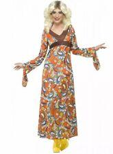 70er Woodstock Hippie Costume Lady NUOVO-DONNA CARNEVALE TRAVESTIMENTO KOST