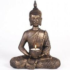 Large meditating Bronze Gold colour Resin Thai Buddha statue Tealight holder