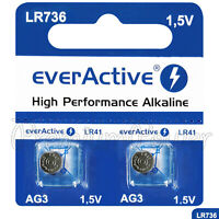 2 x everActive AG3 LR41 Alkaline batteries LR736 192 392 1.5V GREAT VALUE
