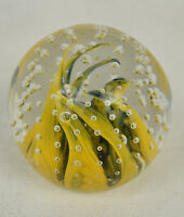 Gentile Glass Paperweight Controlled Bubbles Yellow Fire Swirl West Virginia