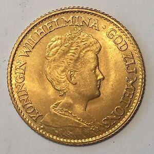 1912 Netherlands 10 Gulden Gold Coin - High Quality Scans #D236
