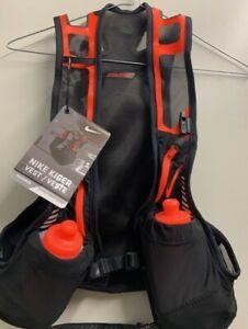 Nike Trail Running Kiger Vest Black/Orange Hydration Vest w/Water Bottles Large