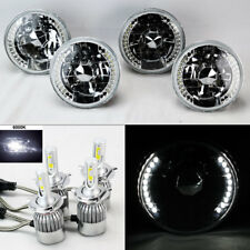 "FOUR 5.75"" 5 3/4 Round H4 Clear DRL Glass Headlights w/ 36W LED H4 Bulbs Plymout"