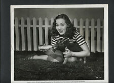 ANN BLYTH BOTTLE FEEDS A TINY PIG -1948 PUBLICITY FOR ANOTHER PART OF THE FOREST