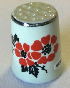 "Red Poppy Flower Pattern Thimble 1"" Tall, Pattern Both Sides Silver Trim"