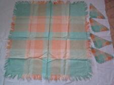 Vintage Card Table Size Linen Tablecloth Napkin Set Plaid Pastel Czech Slovakia