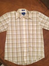 Towncraft Mens Wrinkle Free Short Sleeve Shirt Adult Medium Plaid Good Condition
