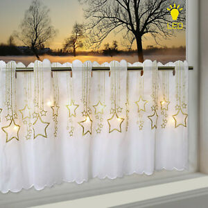 LED Scheibengardine Sternenregen Weihnachten 45 x 115cm beleuchtet