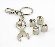 For Cadillac logo Tire Wheel Valve cap Stems & keychain White Gift brand New