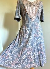 Laura Ashley New 12 Vintage Broderie Anglaise Floral Tea Dress £70 Lace Panel