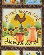 Sunshine Coffee Fabric 5 Block Panel Pot Cup Morning Rooster Quilt Top Squares