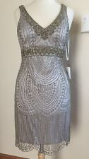 Size 14 *. SUE WONG 1920's GATSBY Platinum Silver Beaded Bridal Cocktail Dress