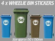 4 x Wheelie Bin Numbers Custom House Number Road Street Graphic Stickers Round