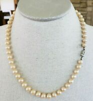 "Vtg Glass Pearl Matinee Necklace Knotted 20.5"" 8mm Silver Tone Box Clasp"