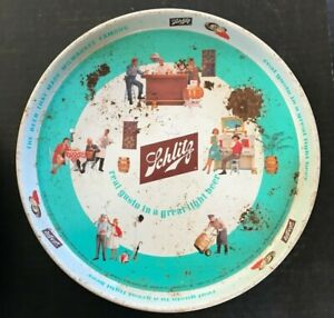 Original 1962 Schlitz Beer Brewing Company Tin Serving Tray Milwaukee Wi. 12 In.
