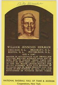 SIGNED BILLY HERMAN AUTOGRAPHED HALL OF FAME PLAQUE - DECEASED 1992 COA