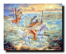 Native American Warriors At Sunset Wall Decor Art Print Picture (16x20)