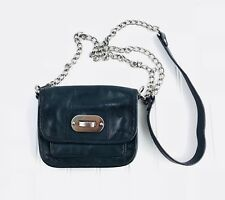 Audrey Brooke Small Black leather Crossbody Purse Long Silver Chain Strap