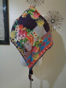 JOHNNY WAS MULTI COLOR FLORAL COTTON TASSELED CORNERS WRAP SCARF