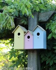 Triple 3 in 1 Wooden Nesting Wild Bird Box House Small Birds Robin Modern NEW