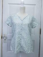 Bit And Bridle Women's Shirt Medium Blue Floral Western Cotton Lightweight
