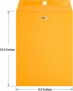 Brown Kraft Catalog Clasp Envelopes, Gummed Seal, 9.5 x 12.5, 10 Each