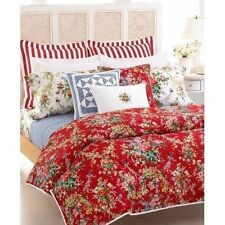 RALPH LAUREN BELLE HARBOR (1) STD PILLOW SHAM NEW FLORAL ON RED FREE SHIPPING