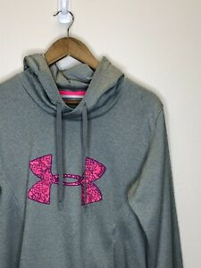 15/2 Womens Under Armour Semi-Fitted Hoodie Sweater Size LG Gray Pink