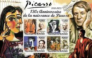 PABLO PICASSO Artist & Painter / Abstract Art Stamp Sheet #1 of 5 (2011 Burundi)