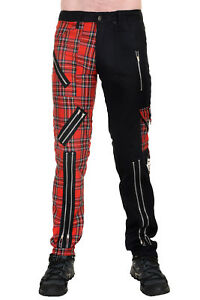 Punk Zip pants Bondage J Split Leg in Black Cotton and Red Tartan.