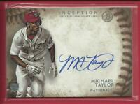 Michael Taylor RC 2015 Bowman Inception Rookie Autographs Card Nationals OF MLB