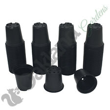"100 X 9cm Plant Pots Black Plastic Tall Deep Full Size Flower Pot (3.5"")"