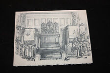 Vintage Christmas Card Of The Inside Of a Church ** FREE SHIP   --b
