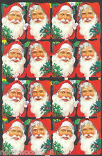 SANTA CHRISTMAS SCRAP PAPER EMBOSSED ENGLISH ORNAMENT BUST PAPER MACHE CARD