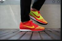 MENS 9 NIKE FLYKNIT RACER SHOES BRIGHT CRIMSON RED VOLT WHITE YELLOW 526628 601