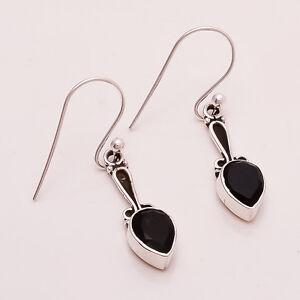 Mid Night Black Onyx Gemstone 925 Sterling Silver Handmade Fine Jewelry Earring