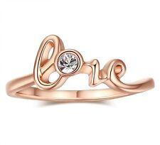 LOVE Word Anello 6 CRISTALLO GIOIELLI 18K GOLD FILLED compleanno anniversario regalo