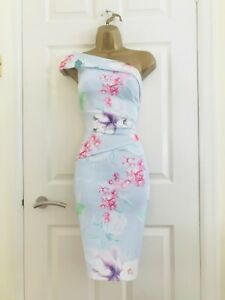 LIPSY Sky Blue Floral Evening Party Occasion Races Ruched Midi Wiggle Dress £65